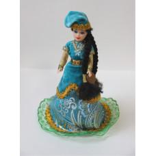 Кукла в национальном костюме, голубое платье