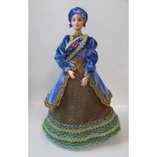 Кукла в национальном костюме, синее платье